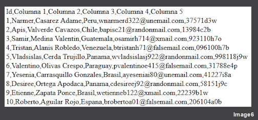 CVS Files (comma-separated values) are simple open  format documents used to present data in a table where columns are separated by commas, &nbsp; and rows are sepparated by line breaks, example: <strong>&nbsp;&quot;1,Frida,Ortega Lucero,Femenino,95,999 Zebedeo Blvd,53023&quot;.</strong>